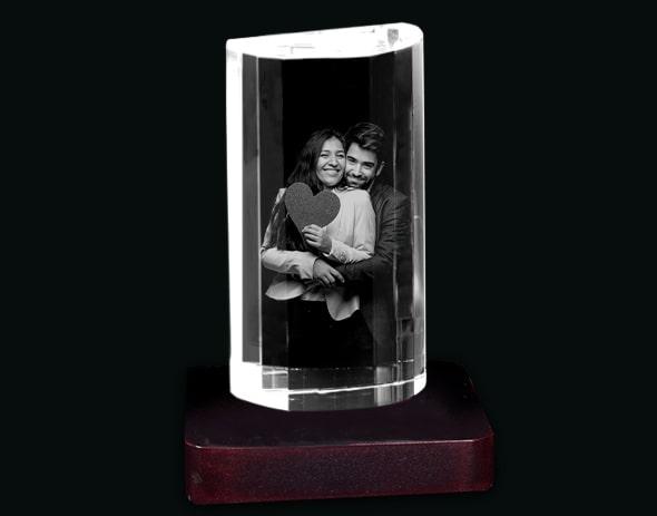 Custom-made 3D Crystal Cube with a Light Base